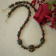 Dragon Blood Jasper Gemstone Beaded Necklace