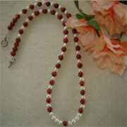 Pearl and Red Jasper Gemstone Necklace