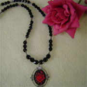 Vintage Style Cameo on Black Glass Beaded Necklace