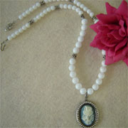 Vintage Style Cameo on a White Glass Beaded Necklace