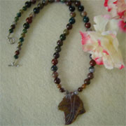 Fancy Jasper Gemstone Beaded Necklace With Pendant