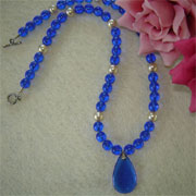 Sapphire and Pearl Glass Beaded Necklace with Pendant