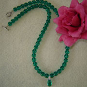 Emerald Glass Beaded Necklace with Pendant