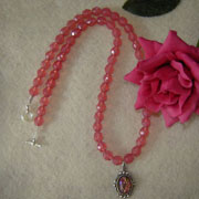 Opal Rose Beaded Necklace With An Opal Cabochon Pendant