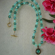 Chocolate Mint And Crystal Mint Glass Beaded Necklace With An Opal Cabochon