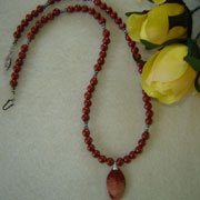 Red Jasper Gemstone Necklace with Pendant