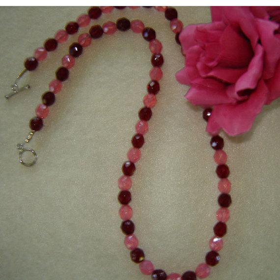 Opal Rose and Garnet Glass Beaded Necklace