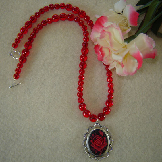 Vintage Style Cameo on a Ruby Glass Beaded Necklace