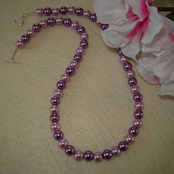 Czech Glass Pearl Beaded Necklace Of Light and Dark Violet