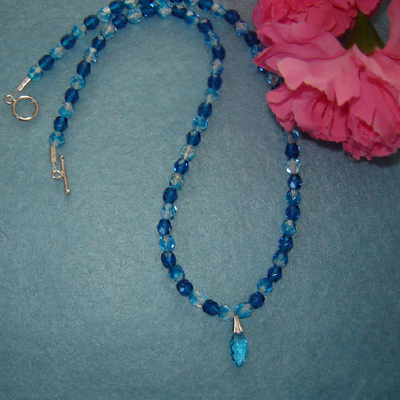 Aqua Glass Beaded Necklace With Pendant