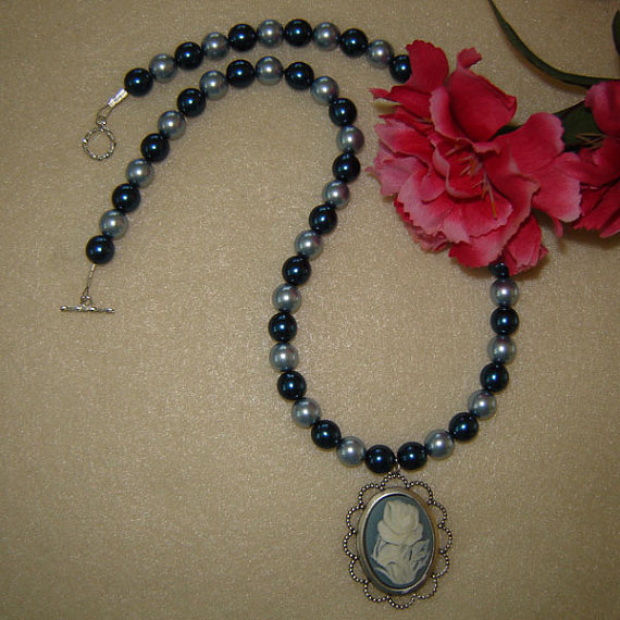 Vintage Style Cameo On A Blue Glass Pearl Beaded Necklace